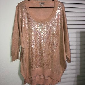 Peach Sequined Sweater